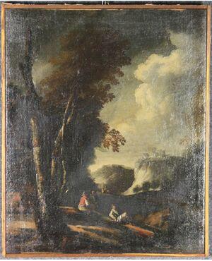 Dipinto Viandanti al torrente del XVIII