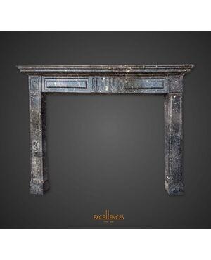 Antica mostra da camino neoclassica marmo grigio carnico
