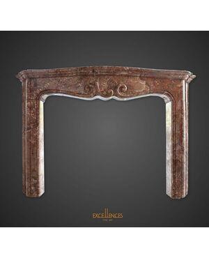 Antica mostra da camino Luigi XV marmo macchiavecchia, epoca '700