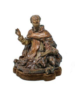 Sant'Antonio abate, scultura in terracotta del XVII secolo