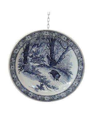 Bellissimo piatto in ceramica artistica colore blu marchio Delft 1950