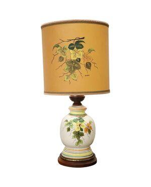 lampada in ceramica artistica dipinta a mano base in legno 1980 circa