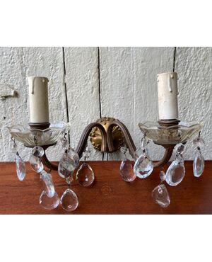 Coppia di appliques con gocce di cristallo anni 30-40