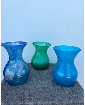 Tre vasetti in vetro soffiato pulegoso.Murano,Fratelli Toso.