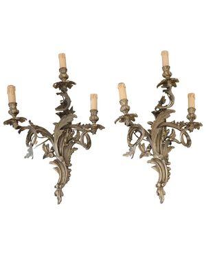 coppia di applique antiche in bronzo dorato secolo XIX