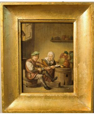 """""""Suonatori in Osteria"""" olio su  tavola '700"""