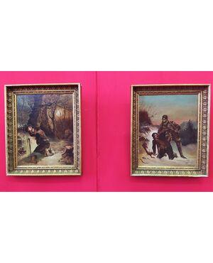 Coppia di piccoli dipinti scena di caccia