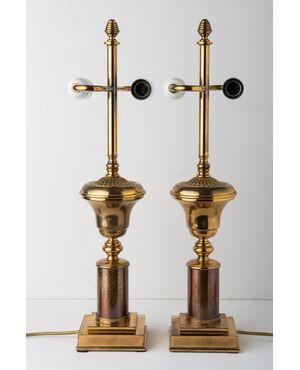 Coppia lampade americane in ottone - O/7646 -