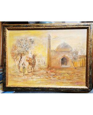 QUADRO ORIENTALISTA  olio su tela 60 x 80 , 50 x 70 solo tela - Firmato: F PATTAHOV Fahritdin Pattahov - Famoso pittore Uzbeko,  Ankara, 1970 circa