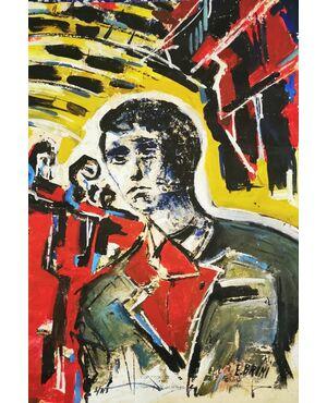ERCOLE BRINI  (1913 – 1989)  BOZZETTO A TEMPERA su CARTA SCENA  40 x 70  - CINEMA Cinecittà ROMA