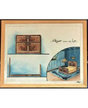 Tempera originale su carta  - Progetto di camera letto anni '20 / '30 - Francia - Firmato  cm 40 x 50