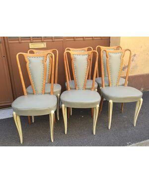 Sei sedie legno laccato e similpelle,  (buone condizioni) - anni '40/50 - CANTU' (COMO) - ITALIA