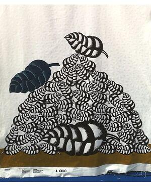 Tessuto in cotone stampato  Modello: FERNAND 1973 - FIRMATO: CONCETTO POZZATI  (1935 – 2017) per EXPANSION BOLOGNA DESIGN, anni '70  L 150 cm, H 330 cm