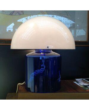 """LAMPADA DA TAVOLO """"DAUM - FRANCE """" ANNI '70 - RISTALLO la BASE e PLASTICA il CAPPELLO - Altezza35 cm"""