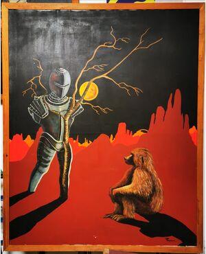 """""""PENSANDO ALL'UOMO"""" Olio su Tela del 1977 - 127 x 157  - Un babbuino e una armatura vuota. Opera di Paolo Fergnani, artista ferrarese, ora scomparso."""