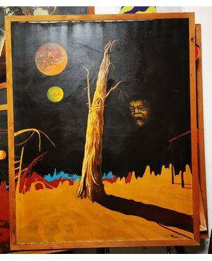 """Opera di Paolo Fergnani, artista ferrarese, ora scomparso. """"PIANGENDO DEL PASSATO """" Olio su Tela del 1977 - 127 x 157 - Un volto terrorizzato e piangente appare nel buio."""