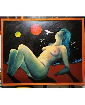 """Opera di Paolo Fergnani, artista ferrarese, ora scomparso. """"ULTIMO SOLE"""" Olio su Tela del 1977 - 127 x 158 Una donna nuda, icona di un mondo che fu, affonda nel colore e nella nebbia."""