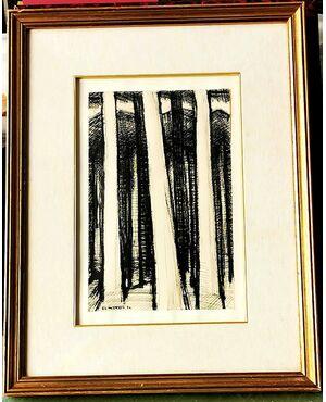Disegno a china di Jean Louis Mattana  (Reims1921 - Torino 1990) Firmato e datato 1954 - Francia / Italia