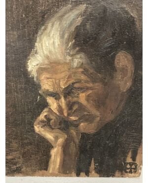 "Antico dipinto ""Anziana Pensante "" su faesite primi 900 cm 40 x 30"