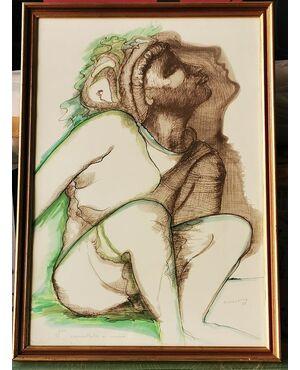 Lito di M. GULLOTTA Acquerellata a mano 1988 - 2/150 -  cm 63 x 43