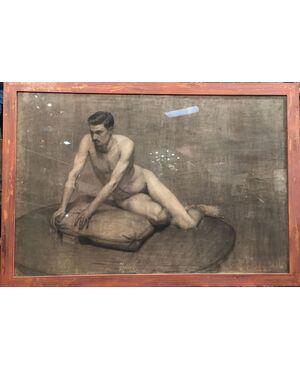 """Disegno a carboncino di nudo maschile firmato """"A. Peluzzi"""""""
