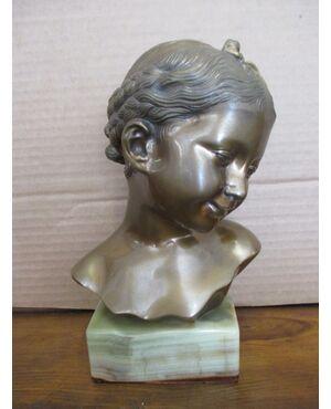 Statua bronzo busto bimba su base in onice - fanciulla - epoca 900