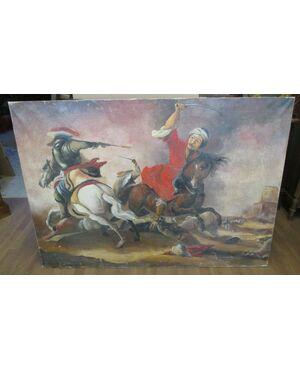 Grande quadro dipinto a olio su tela battaglia a cavallo - fine 800 - 140 x 99!