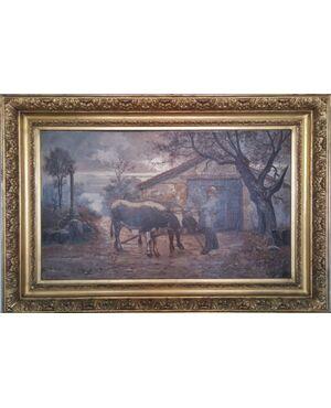 Grande dipinto agreste Claudius Seignol (Lione 1858-1926)