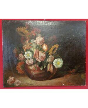 Dipinto di un vaso di fiori