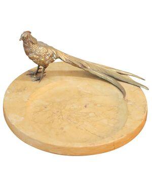 Raro piatto decorativo in marmo con uccello in bronzo PREZZO TRATTABILE