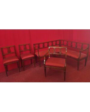 Completo da salotto con divano ad angolo Luigi XVI