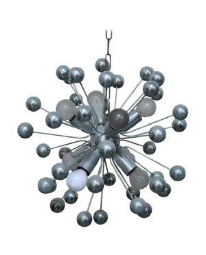 lampadario sputnik design italiano in metallo cromato anni '80 PREZZO TRATTABILE