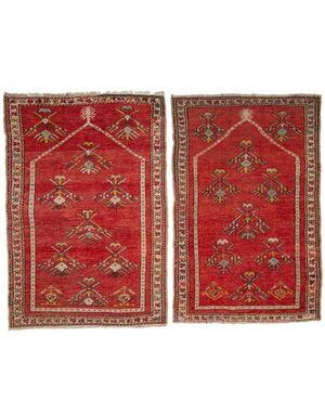 Coppia di antichi tappeti preghiera turchi KIRSHEIR - n.460-461