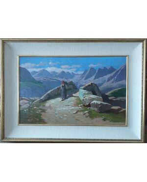 Contadina in alta montagna