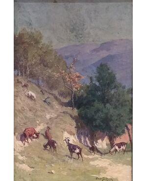 Paesaggio con capre