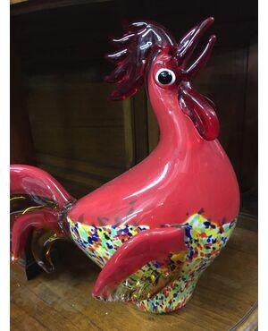 Antico gallo in vetro di Murano