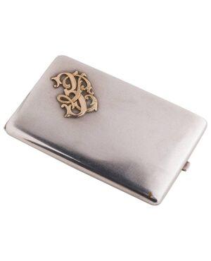 Antico porta-sigari Italiano in argento con iniziali in oro - A/EP