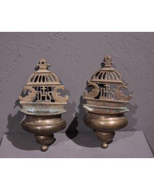 Coppia acquasantiere in bronzo, Toscana, '600