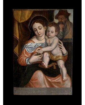 Scuola Spagnola (Cinquecento, firmato Santiago Martínez) - Madonna col Bambino