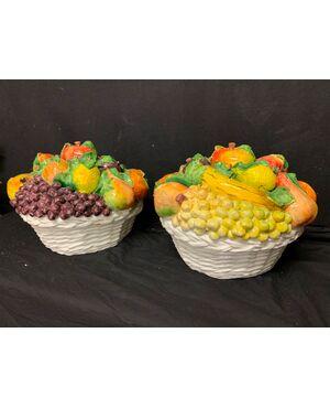 Coppia cesti frutta in ceramica