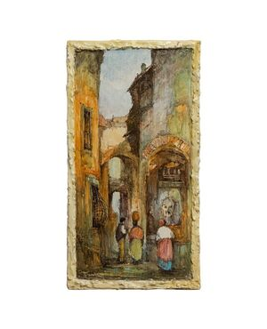 Pannello in ceramica italiana dipinta con paesaggio ligure - O/8191