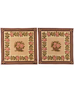 Coppia di tappeti quadrati ricamati  Needle Point - n.361-362