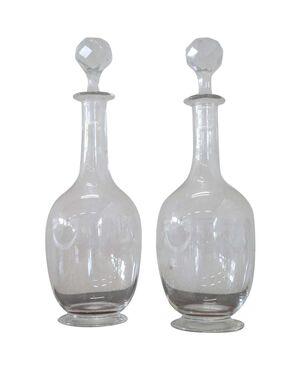 Raffinata coppia di bottiglie in vetro artistico decorato inizi sec XX PREZZO TRATTABILE