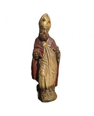 Scultura in legno dorato e policromo raffigurante vescovo