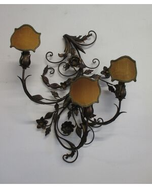Applique in ferro dorato con fiori e foglie - tre luci grandi dimensioni - 900