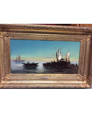dipinto olio su tavola cm 32 x 63