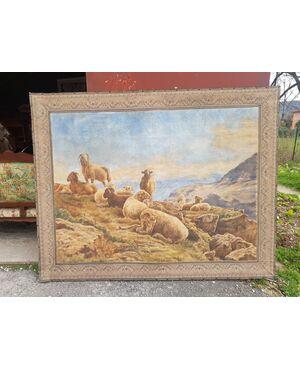 Grande dipinto su tela paesaggio montano '800