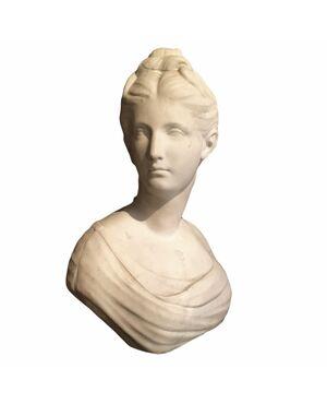 Scultura in marmo bianco raffigurante ritratto di Diana  di Jean-Antoine Houdon