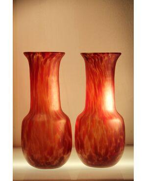 Murano | Coppia vasi in vetro striato