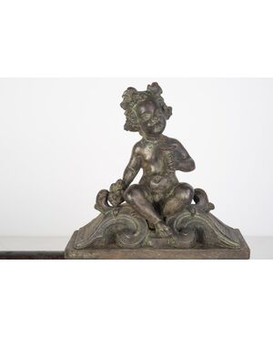 Frontalino in bronzo per camino con putti - O/ 3592